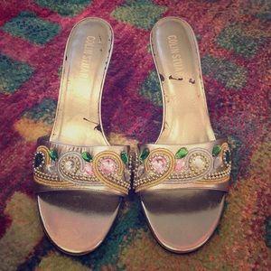 Colin Stuart 3 Inch Silver Heels, with gemstones
